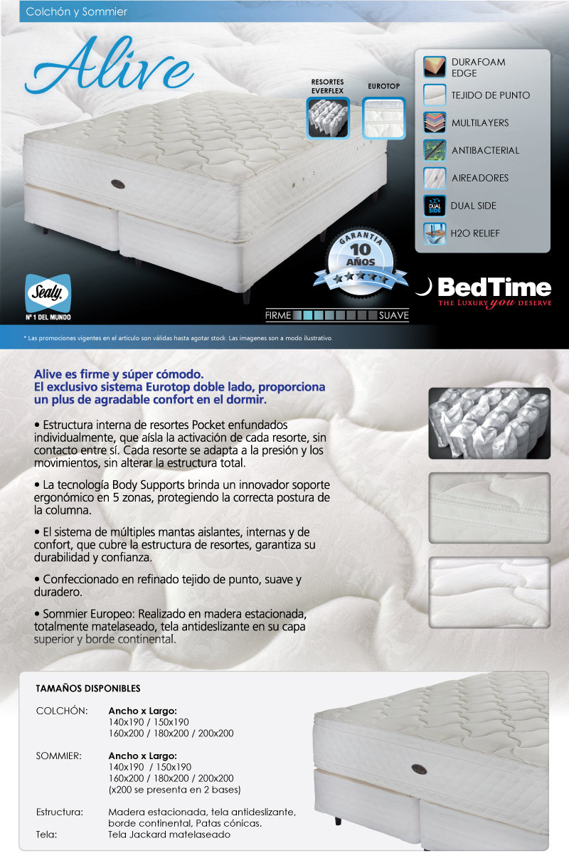 colchon y sommier bedtime alive 200x200 env o gratis. Black Bedroom Furniture Sets. Home Design Ideas